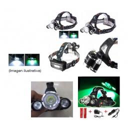 MINERO LINTERNA POTENTE LED T6 10 W CENTRAL Y 2 LEDS VERDES 3W RECARGABLE