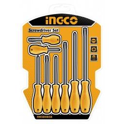JUEGO 8PCS (ECO) AMARILLO DESTORNILLADORES INGCO HKSD0858