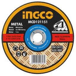 DISCO CORTE METAL 4½ X 1,2MM INGCO MCD121151 CHATO 115X1,2MMX22,2MM