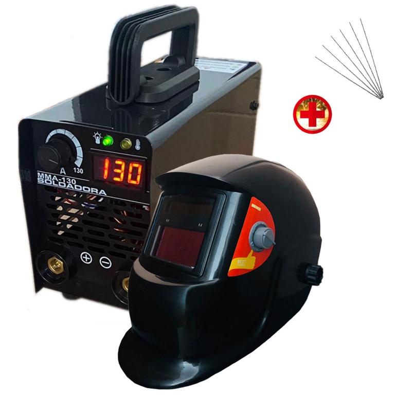 KIT SOLDADORA INVERTER130 AMP FORCE POWER + CARETA + ELECTRODOS